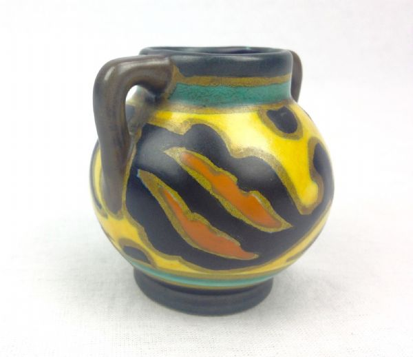 Gouda Pottery Vase Jug Antique Art Deco 1929 - Yellow - Brown - Orange 1918